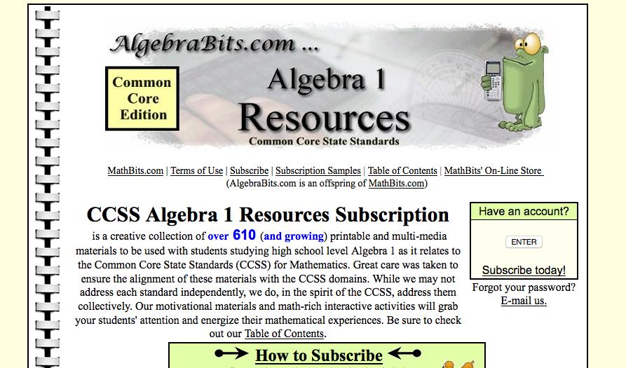 Algebrabits.com algebra I worksheets