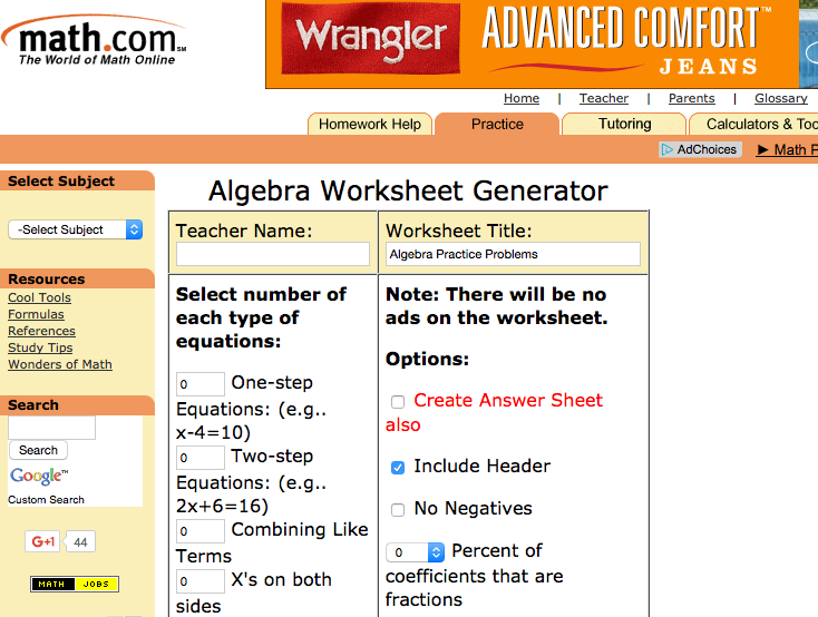 math.com algebra I worksheets
