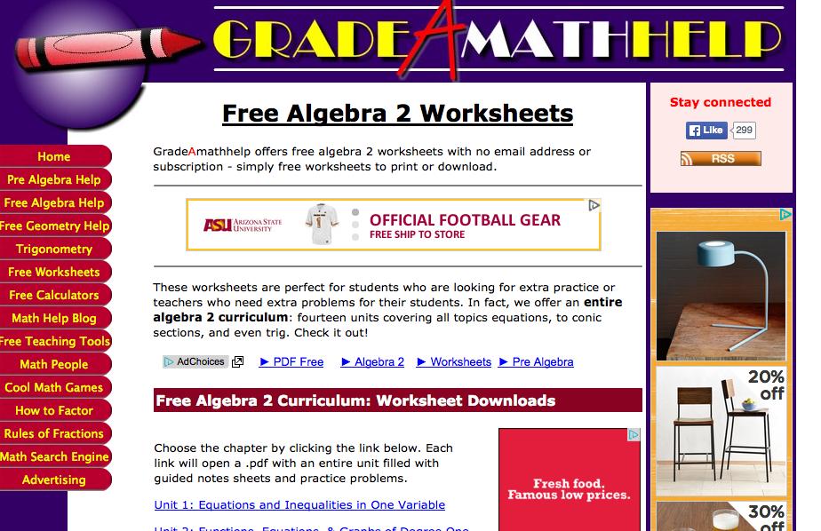 math worksheet : top 6 places for algebra ii worksheets and algebra ii homework  : Math Help Worksheets