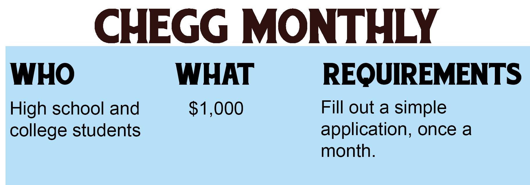 Chegg Monthly Scholarship