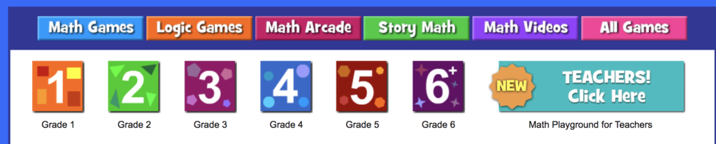 Math Playground by grade level
