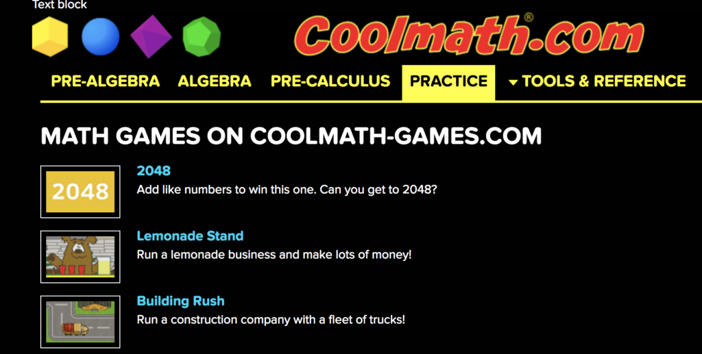 Cool Math Practice Navigation Section