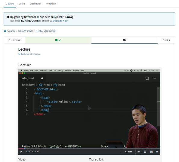 Coding Websites edX