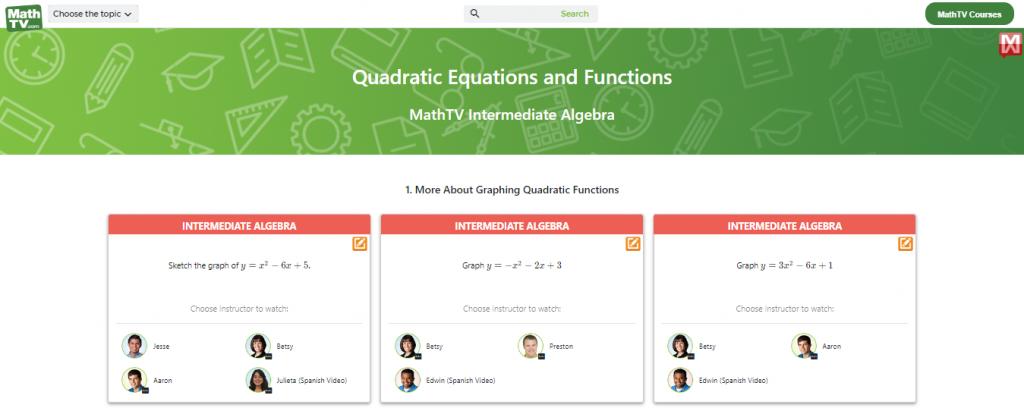 Math Help Websites MathTV